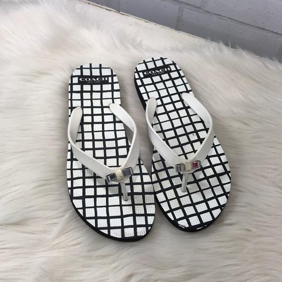 1fcb9648ec3d5a Coach Shoes - Coach Black White Checkered Bow Flip Flops